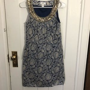 Ann Taylor Loft Dress Size 0 Blue Sequin Floral